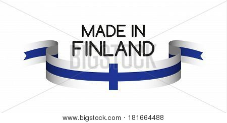 Colored ribbon with the Finnish colors Made in Finland symbol Finnish flag isolated on white background vector illustration