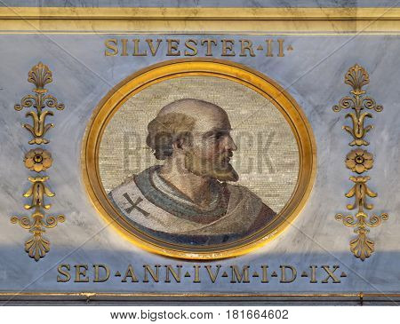ROME - SEPTEMBER 05, 2016: The icon on the dome with the image of Pope Sylvester II or Silvester II was Pope from 2 April 999 to his death in 1003, basilica of Saint Paul Outside the Walls, Rome