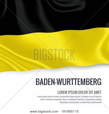 Flag of German state Baden-Wurttemberg waving on an isolated white background. State name and the text area for your message.