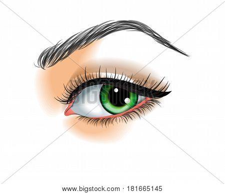 Eye make up vector illustration on white background
