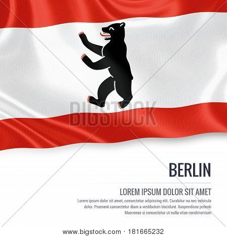 Flag of German state Berlin waving on an isolated white background. State name and the text area for your message.