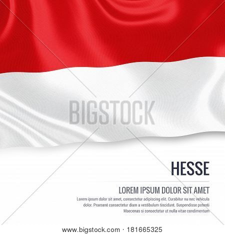 Flag of German state Hesse waving on an isolated white background. State name and the text area for your message.