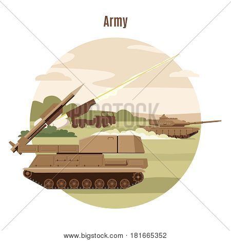 Ground military transport template with tank and anti aircraft protection vehicles vector illustration