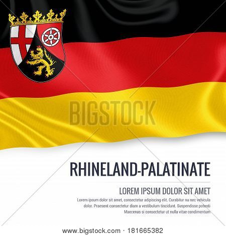 Flag of German state Rhineland-Palatinate waving on an isolated white background. State name and the text area for your message.