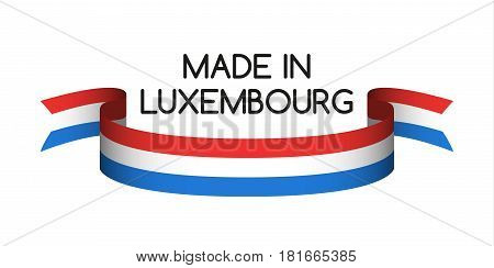 Colored ribbon with the Luxembourg tricolor Made in Luxembourg symbol Luxembourg flag isolated on white background vector illustration