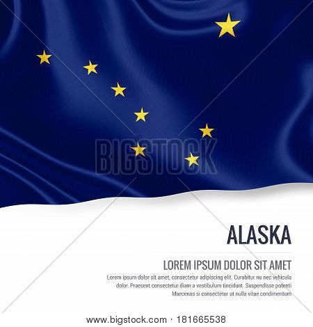 Flag of U.S. state Alaska waving on an isolated white background. State name and the text area for your message.