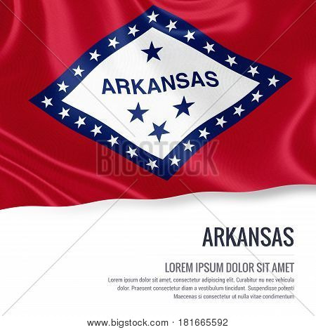 Flag of U.S. state Arkansas waving on an isolated white background. State name and the text area for your message.