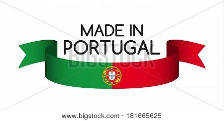 Colored ribbon with the Portuguese colors Made in Portugal symbol Portuguese flag isolated on white background vector illustration