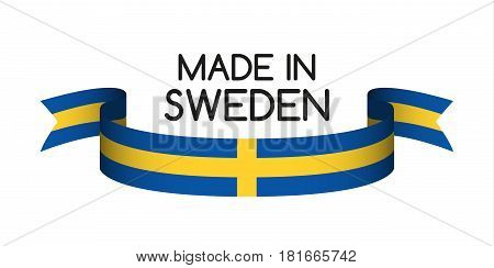 Colored ribbon with the Swedish colors Made in Sweden symbol Swedish flag isolated on white background vector illustration