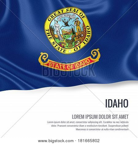 Flag of U.S. state Idaho waving on an isolated white background. State name and the text area for your message.