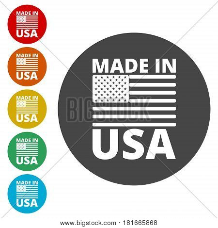 Vector Made in USA icon and logo set