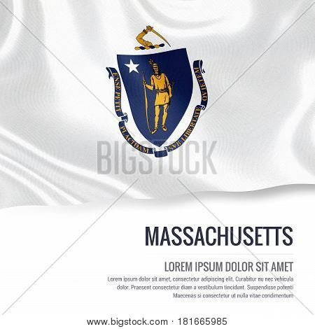 Flag of U.S. state Massachusetts waving on an isolated white background. State name and the text area for your message.