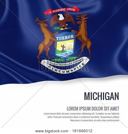 Flag of U.S. state Michigan waving on an isolated white background. State name and the text area for your message.
