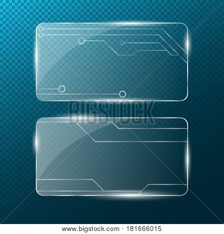 Chain. Rectangular transparent glass on a transparent blue background. New technologies . Cyber-texture. Pattern on the glass. A modern plate with a silver pattern. 3d realistic. Transparent illustration