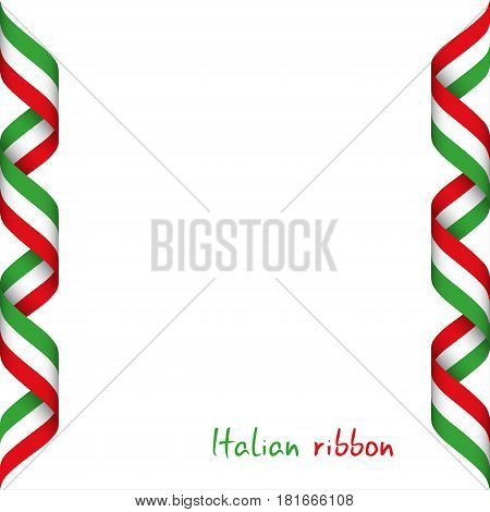 Colored ribbon with the Italian tricolor symbol of the Italian flag isolated on white background sign Made in Italy
