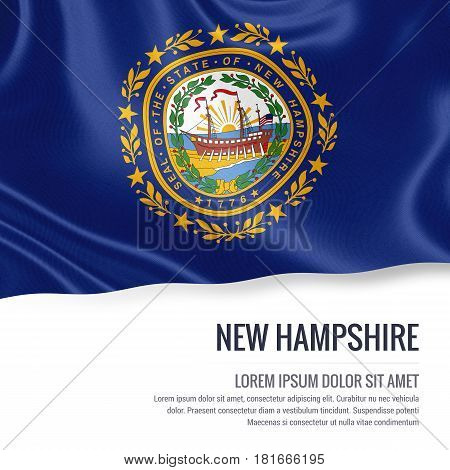 Flag of U.S. state New Hampshire waving on an isolated white background. State name and the text area for your message.