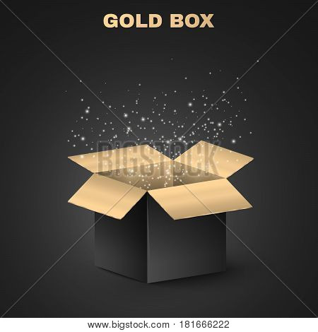 Shining gold and black box on a black background. Dark illustration. Night scene. Luminous dust flies from an open box. Shiny box. Illustration for a holiday. Golden sequins. 3D shadows