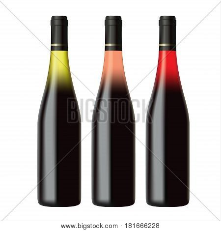 Set of white rose and red wine bottles isolated on white background realistic vector illustration