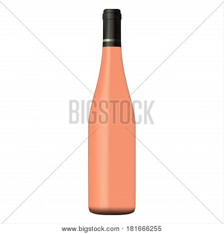 Rose wine bottle isolated on white background realistic vector illustration
