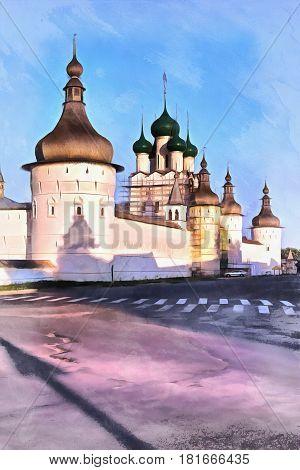 Colorful painting of Rostov Kremlin, Rostov, Yaroslavl region, Russia