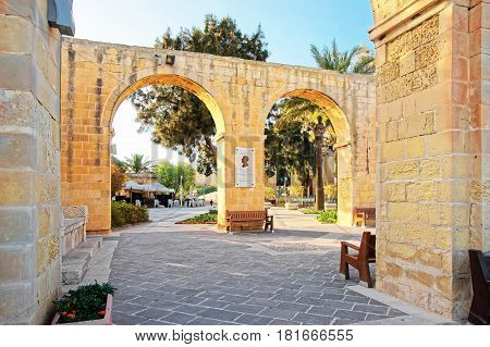 Valletta, Malta - April 1, 2014: Arch of Upper Barracca Gardens wall in Valletta Malta