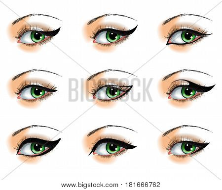 Nine different eyeliners set  isolated on white background