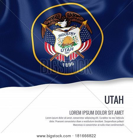 Flag of U.S. state Utah waving on an isolated white background. State name and the text area for your message.