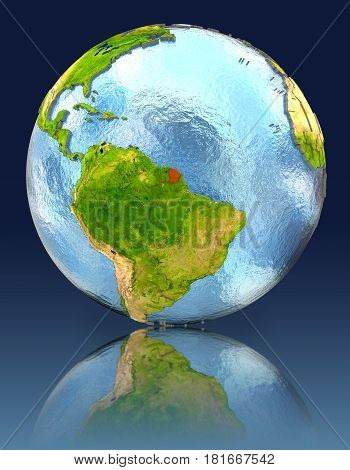 French Guiana On Globe With Reflection