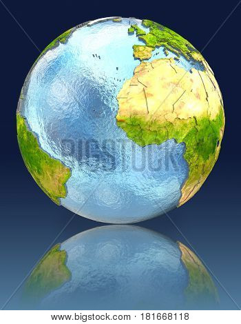 Gambia On Globe With Reflection