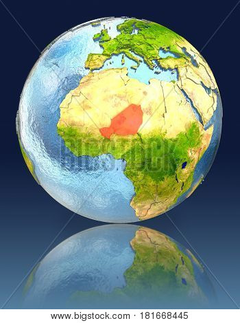 Niger On Globe With Reflection
