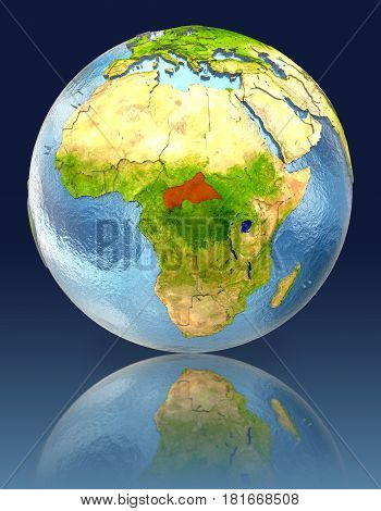Central Africa On Globe With Reflection