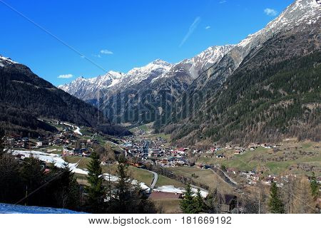 Soelden village valley in Tirol region Austria