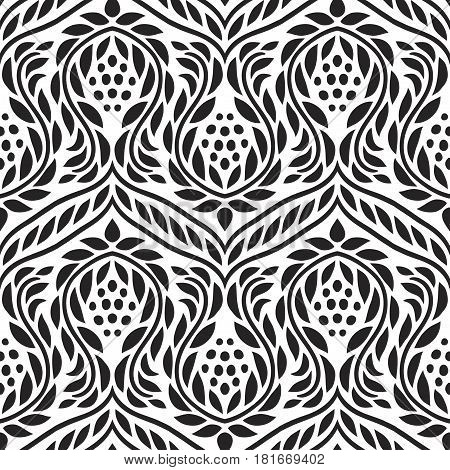 Vector illustration of clack and white baroque seamless pattern. Bohemian style. Impressive fashion print.