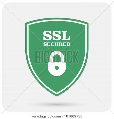 Ssl certificate shield with padlock - secure website emblem