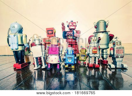 vintage robot toys having a meeting with the boss