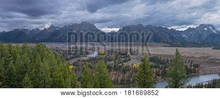 Grand Teton National Park and the snake river over view