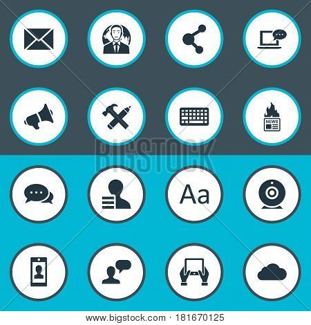 Vector Illustration Set Of Simple User Icons. Elements Gazette, Repair, Man Considering And Other Synonyms International, Smartphone And Post.