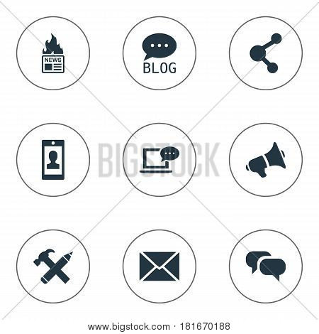 Vector Illustration Set Of Simple Newspaper Icons. Elements Profile, Post, Gazette And Other Synonyms Relation, Speech And Missive.