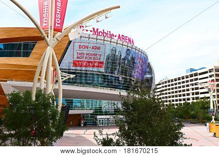 LAS VEGAS - October 10 : The T-Mobile arena in Las Vegas on October 10 2016. The arena is located west of the Las Vegas Strip and has 20,000 seat capacity
