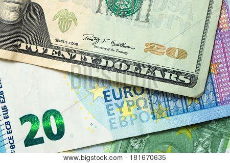 Us Dollar And Euro Banknotes