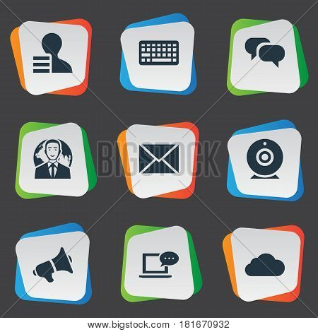 Vector Illustration Set Of Simple User Icons. Elements Keypad, Overcast, Gain And Other Synonyms Gossip, Missive And Man.