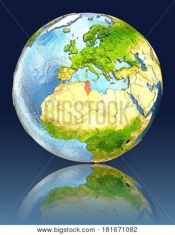 Tunisia On Globe With Reflection