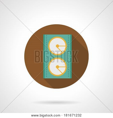 Abstract green acoustic speaker symbol. Sound equipment for music event. Round flat design brown vector icon, long shadow.