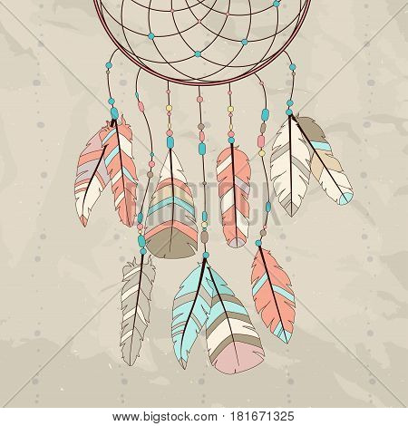 Hand drawn native American Indian talisman dream catcher with feathers. Vector hipster illustration. Ethnic design boho dreamcatcher tribal symbol.