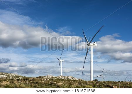 Windmills on the Sierra Carape in the Maldonado Department Uruguay
