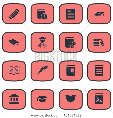 Vector Illustration Set Of Simple Knowledge Icons. Elements Bookshelf, Reading, Pen And Other Synonyms Academy, Textbook And Writing.