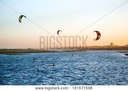 Jose Ignacio Uruguay April 1 2017 - Kiters on the Garzon Bay are using last summer days