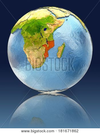 Mozambique On Globe With Reflection