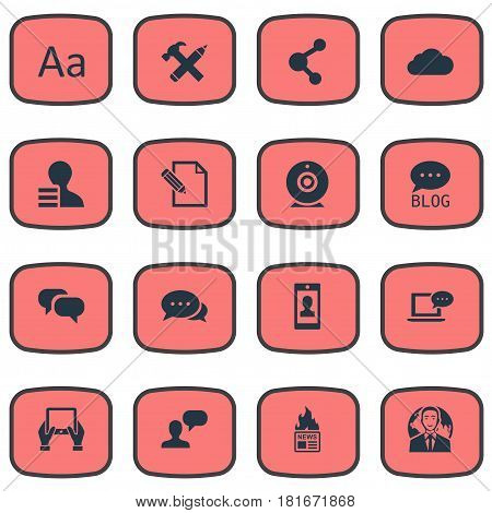 Vector Illustration Set Of Simple Newspaper Icons. Elements Laptop, Gossip, Site And Other Synonyms Share, Conversation And Site.