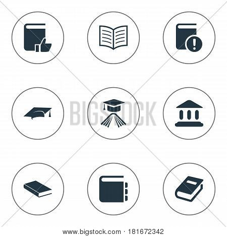 Vector Illustration Set Of Simple Education Icons. Elements Graduation Hat, Book Page, Library And Other Synonyms Notepad, School And Building.